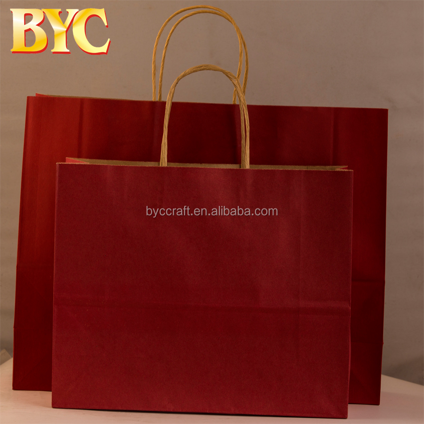 Bright red kraft paper printed gift bag cement packaging paper bags with spout top