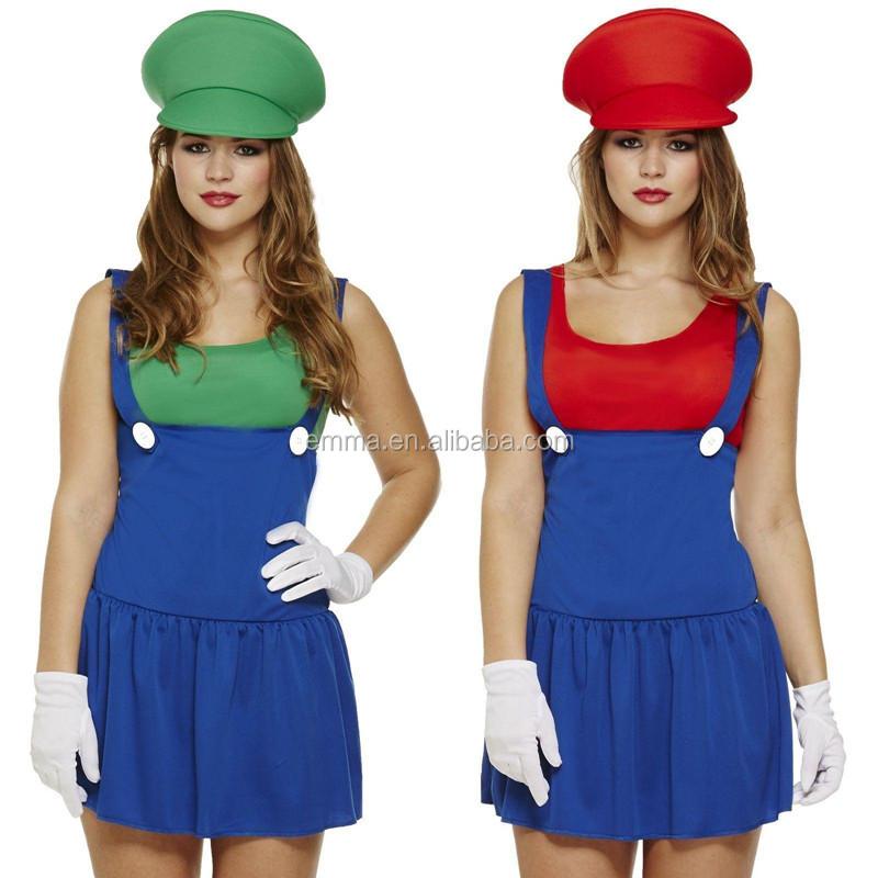 Ladies Super Mario Plumber Bro Fancy Dress Women 90s Fancy Dress Outfit