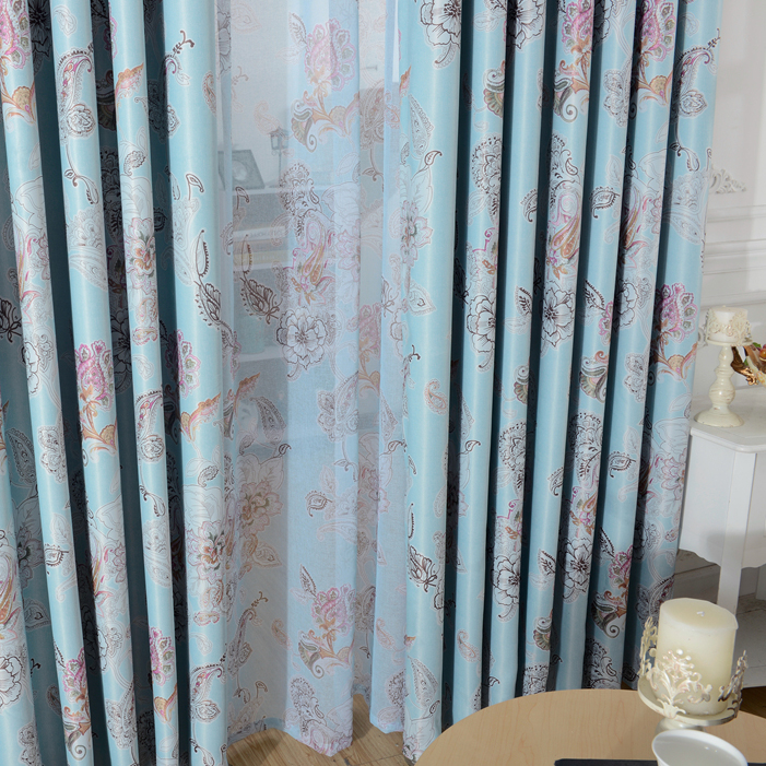 Professional beautiful living room luxury printed window curtain tulle fabric for window curtain