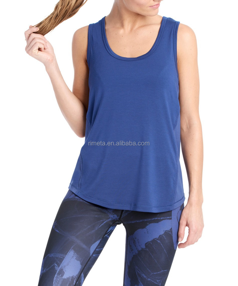 Fashion loose ladies sports T-shirt yoga tank top fitness singlets Gym vest csaure clothes for women