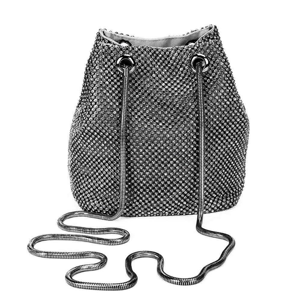 eef1dd8ae7 Get Quotations · Sample9 Women's Evening Shoulder Bag Bridal Clutch Party  Prom Wedding Rhinestone Handbag Black