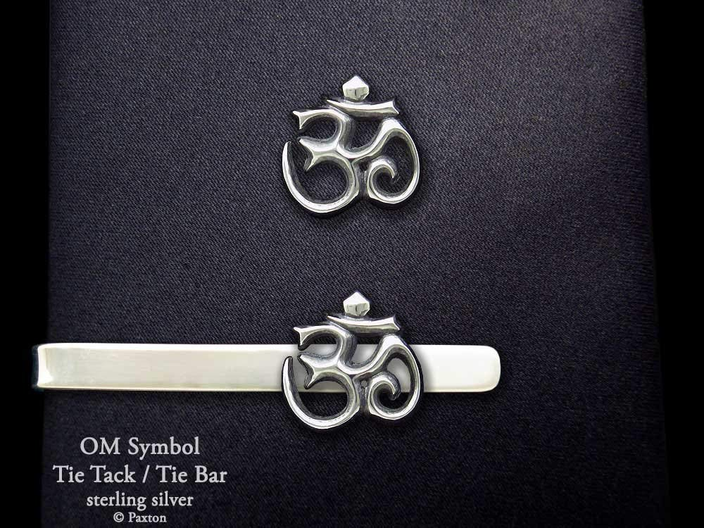 c12a6542d99 OM Symbol Tie Tack or Om Symbol Tie Bar in Solid Sterling Silver Hand  Carved &