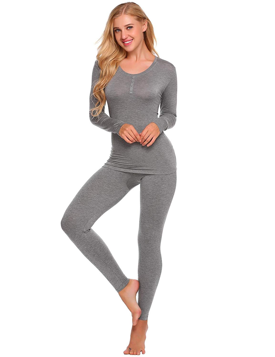 Skylin Women Solid Long Sleeve Tops with Elastic Waist Pants Thermal Underwear Set S-XXL