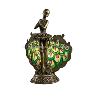 JL-B07 decorative bronze fancy night lights peacock desk side table lamp bedroom livving room lighting