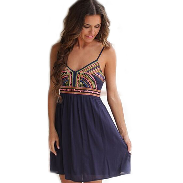 2015 Vintage Women Summer Embroidery Dresses Casual Print Bohemian Blue Spaghetti Strap Sleeveless V-Neck Mini Chiffon Dress
