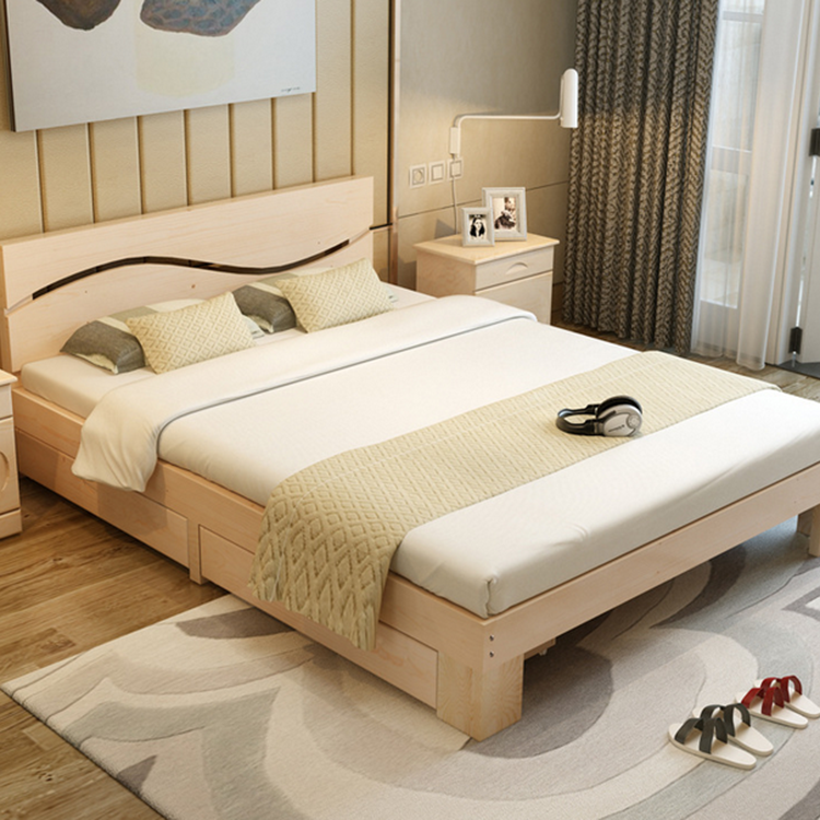 Latest designs simple wooden double beds buy simple for Simple wooden bed designs pictures