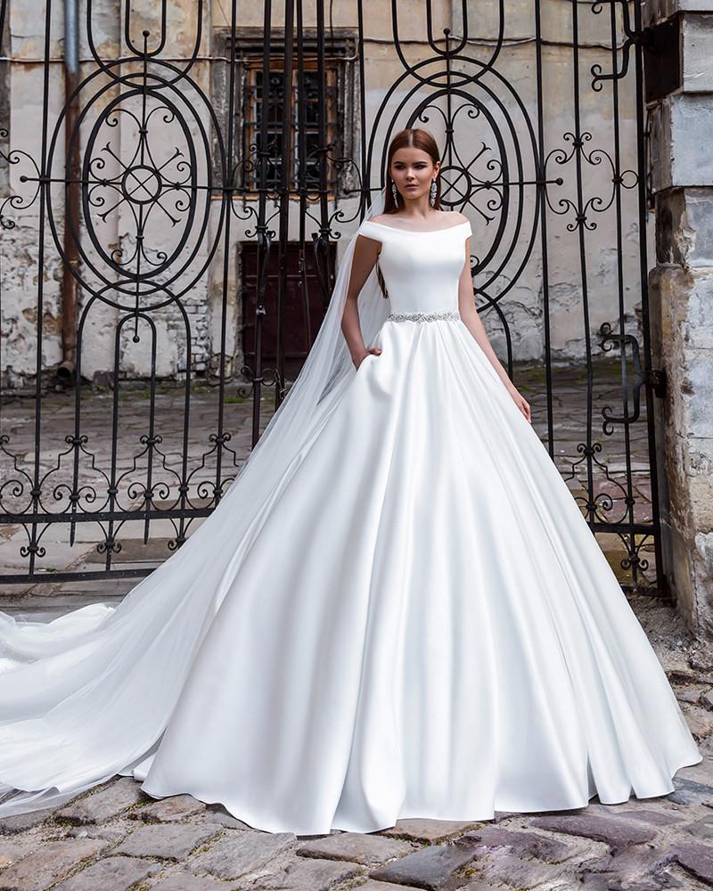 Fashion Simple White Long Wedding Dress With Train 2016