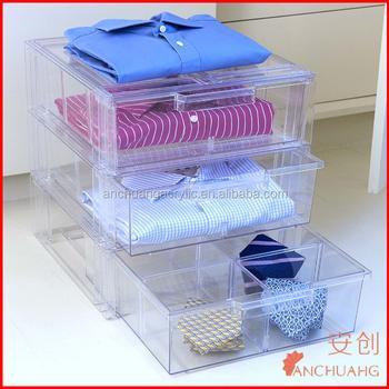 Acrylic Shirt Storage Stackable Drawer Clothing Bins Garment Storing