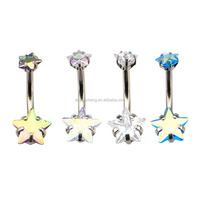 14g 7/16 Internally Threaded Belly with Prong Set Star Gem