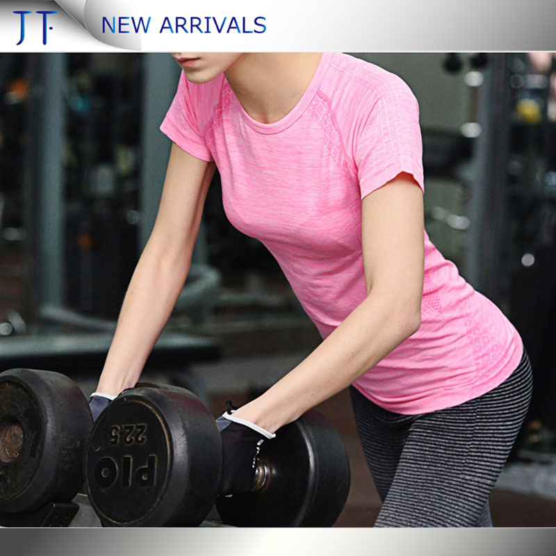 OEM wholesale fitness custom stretch professional hot sale women workout sports t-shirts tight fashion cargo yogo t-shirts