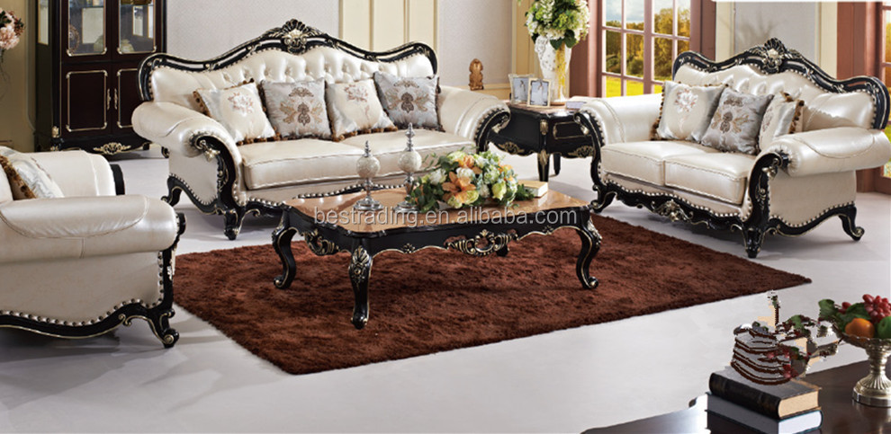 White Leather Sofa Clical French Antique Luxury Hand Carved Set
