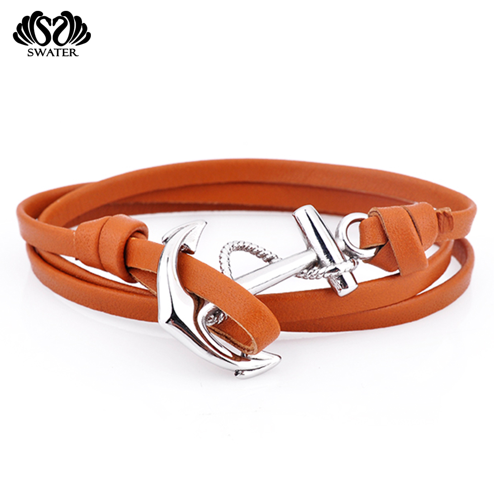 Jewelry Wholesale China Fashion Men Wrap Brown Engraved Anchor Leather Hook Bracelet