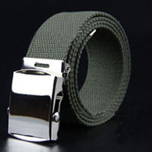 fp1532 Mens Canvas Military Belt with Silver Roller Buckle