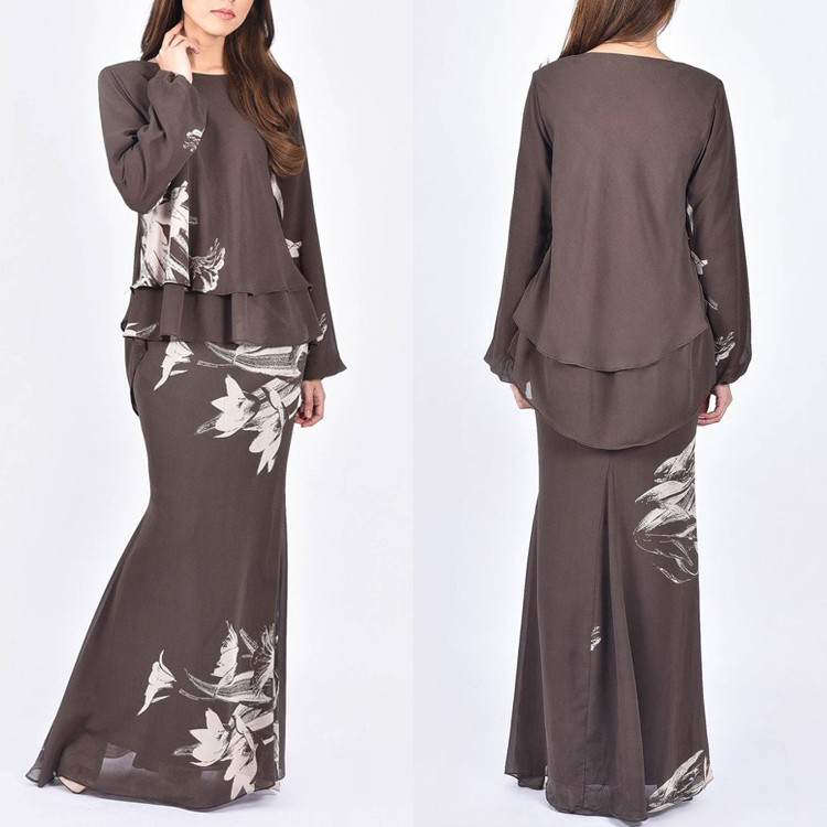2017 Latest Fashion Double Layer Chiffon Baju Kurung Malaysia Buy Chiffon Baju Kurung Baju