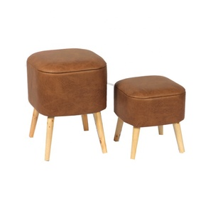Fuzhou FYTCH Square Storage Brown Bedroom Furniture Durable Folding Set 2 Leather Pouf
