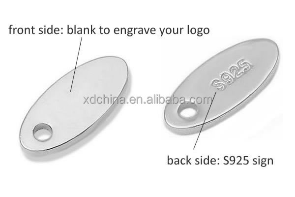 XD P808 Small Oval Shaped Custom Logo 925 Sterling Silver Jewelry Tags