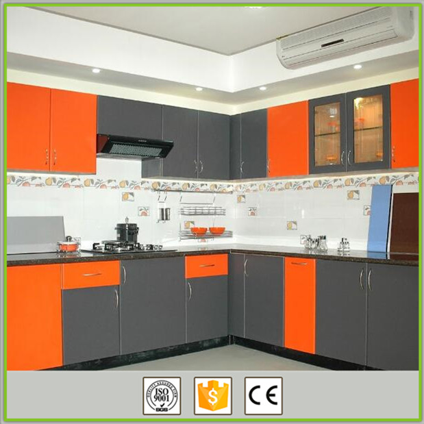 Hot sale european style modular pvc kitchen cabinets with four colors
