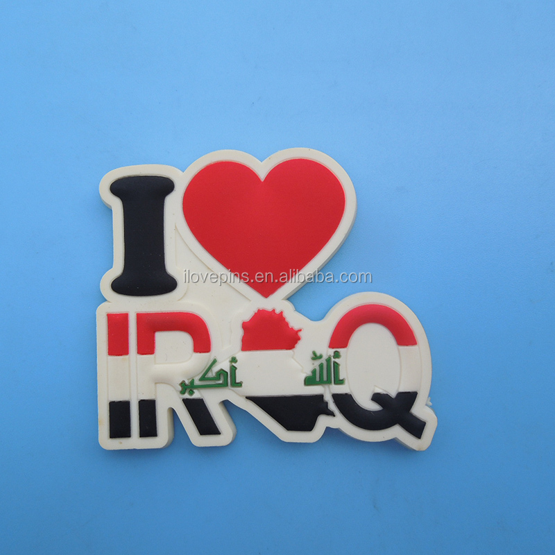 cut out I love I Iraq souvenir 3D PVC embossed tourist fridge magnet