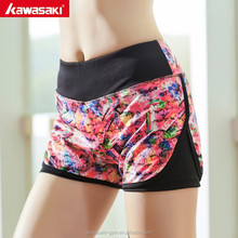 Quick dry breathable microfiber ladies yoga high waisted shorts