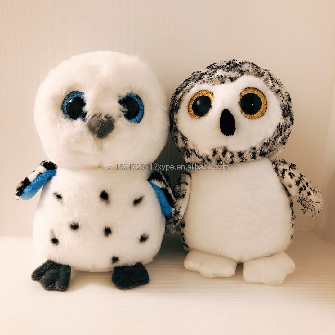 Cute White Owl Plush Toy Stuffed Animal With Big Eyes For Gifts