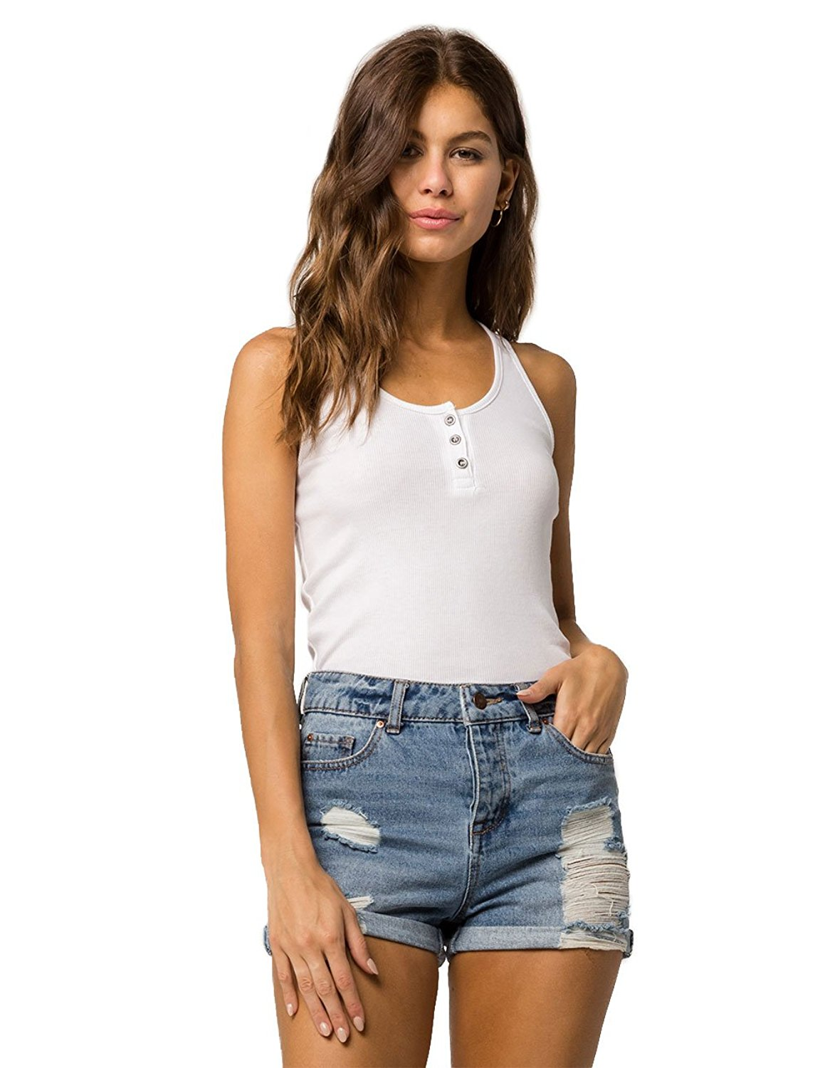36fd5bd1aefcf SKY AND SPARROW Ribbed Henley Rust Tank Top