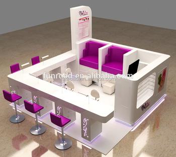 Ordinaire Manicure Table Nail Salon Kiosk Design Nail Bar Furniture With LED Lights
