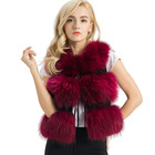 Best Choose 3 Rows Real Fur Vest Women Winter Genuine Raccoon Fur Gilet Waistcoat