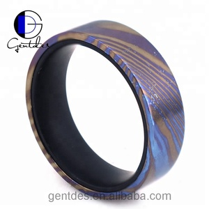 Gentdes Jewelry Natural Color Timascus Ring With Black Matt Inner Band