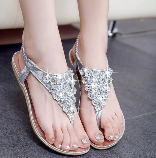 X85643A summer ladies fancy flat pu sandals 2017 women rubber sandals shoes