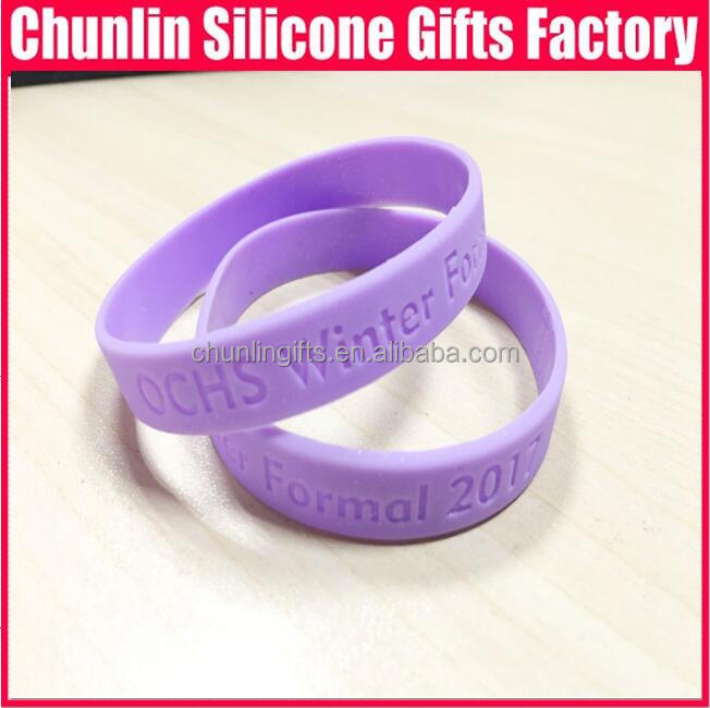 debossed pure silicone bracelets, promotion gifts, youth bracelets