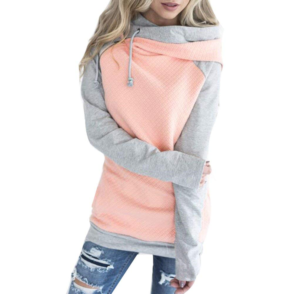 Your Gallery Women's Zip Funnel Neck Drawstring Hoody Raglan Long Sleeves Pullover Sweatshirt Hoodies