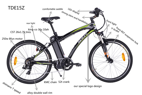 36v 250w 16z electric mountain bicycle with brushless motor
