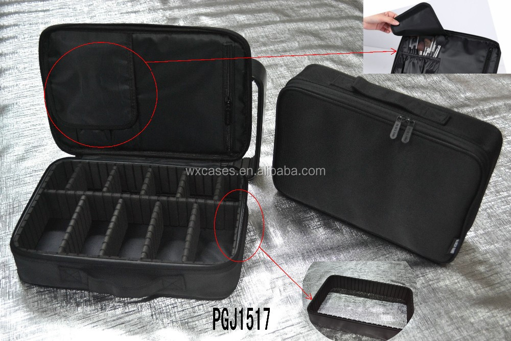Spot-goods,muti-function waterproof nylon cosmetic bags with strong plastic frame,many colors are available