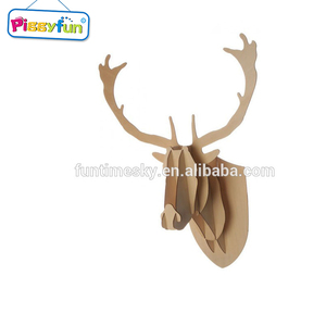 2018 New wooden sculpture deer head puzzle of plywood AT11503