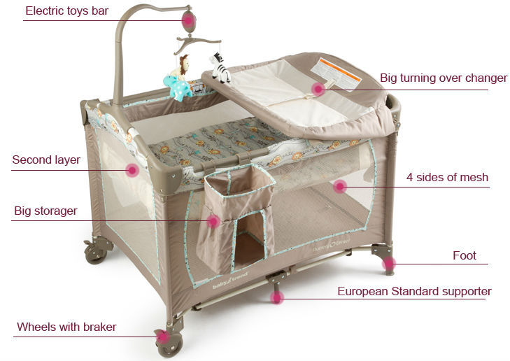 European Standard Travel Cot Furniture Cribs Portable