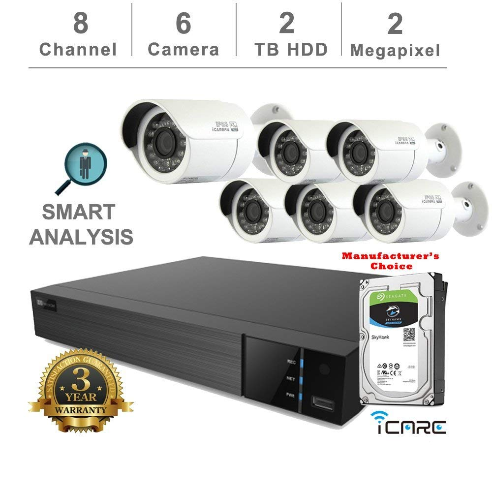 iCare-DVR Smart Analysis DVR Security Kits: 8CH 5 in 1 DVR w/2TB Security HDD+ (6) 2MP Outdoor IR White Bullet (3 Years Warranty; Local US Support)