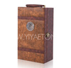 Brown Line Embossed 2 Bottles Leather Wine Carrier