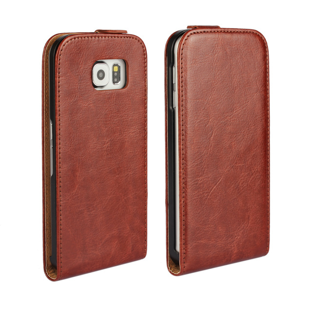 2015 Hottest Businessmen Vertical Flip PU Leather Case For Samsung GalaxyS6 SVI G9200 Brown Ultra Slim Simple Design Phone Cover