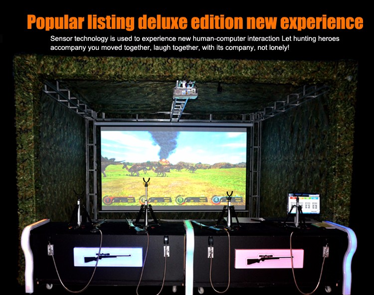 Qingfeng 2017 indoor coin operated Hunting Shooting Hero 4 Players Simulator arcade video Game Machine