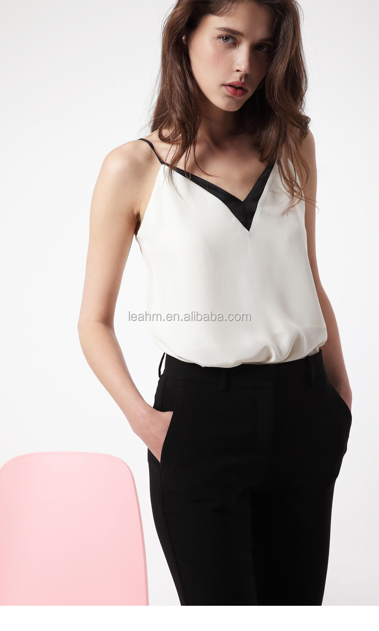V neck fashion casual summer woman blouse wholesale tank top