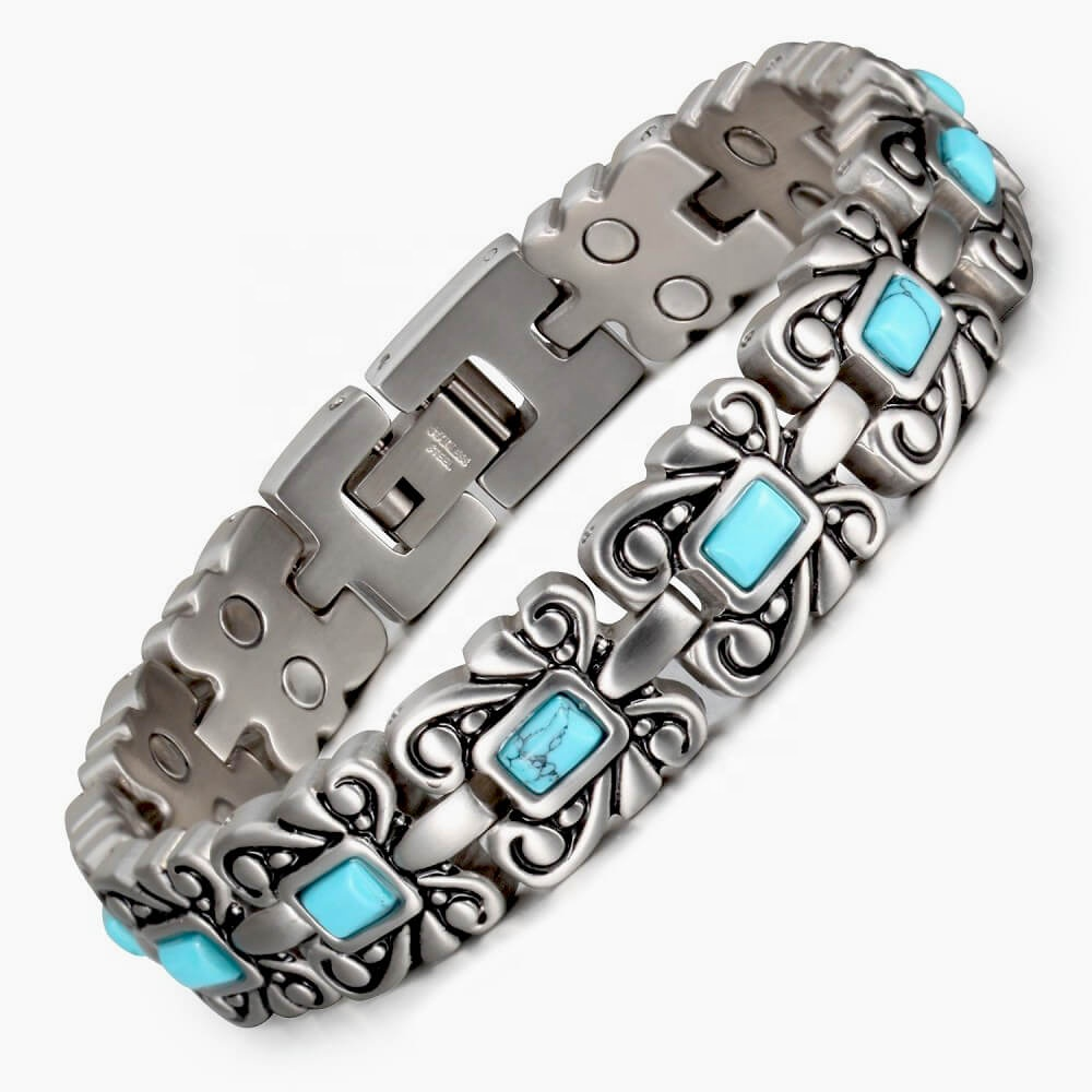 Wollet China Womens New Therapeutic Stainless Steel Health Blood Pressure Control Bio Magnetic Therapy Bracelet