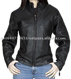 HMB-0293A WOMEN LEATHER JACKET COWHIDE HEAVY DUTY RIDERS COAT