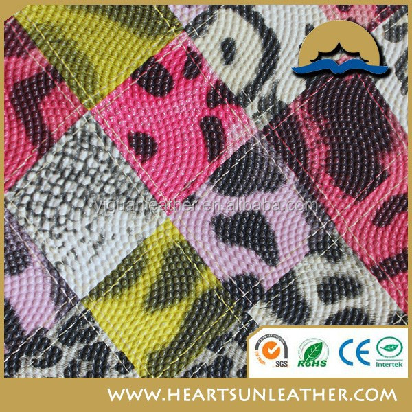 pvc leather animal printing design newest material for shoe and bag(pu cuero sinteticos)