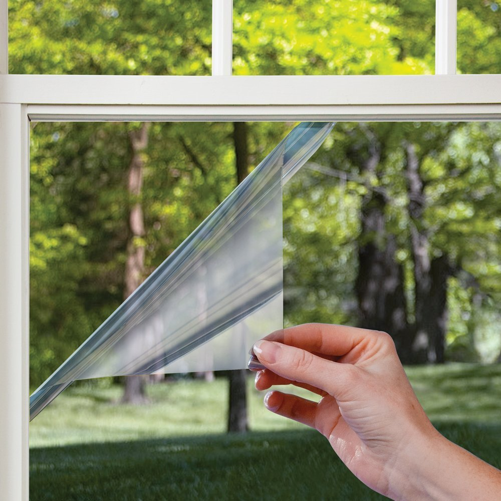 "Gila 10386589 Heat Control Static Cling Residential DIY Window Film Sun Blocking Glare Reduction 3' x 6.5', 36"" x 6.5', Platinum"