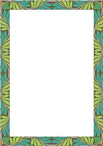 Picture Matting-Green & Blue Leaves-Etched Vinyl Stained Glass Film, Static Cling Photo Frame Decal