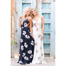 HT-WP Hot Selling Pretty Women/girls Fashion Floral Print Flowy Chiffon Maxi Beach Long Dress 2017