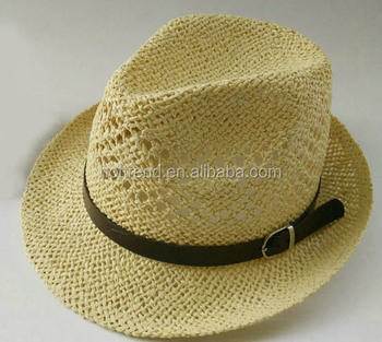 88e7baeb2fafd6 Mens' Hand Woven Straw Fedora Hat With Faux Leather And Buckle Band ...