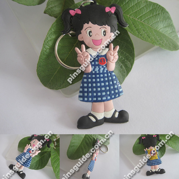 2014 New Design Double-side Soft PVC His-and-her Keychains For Kids
