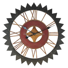 Triangle Gear With Roman Numerals Non Ticking Wall Clock