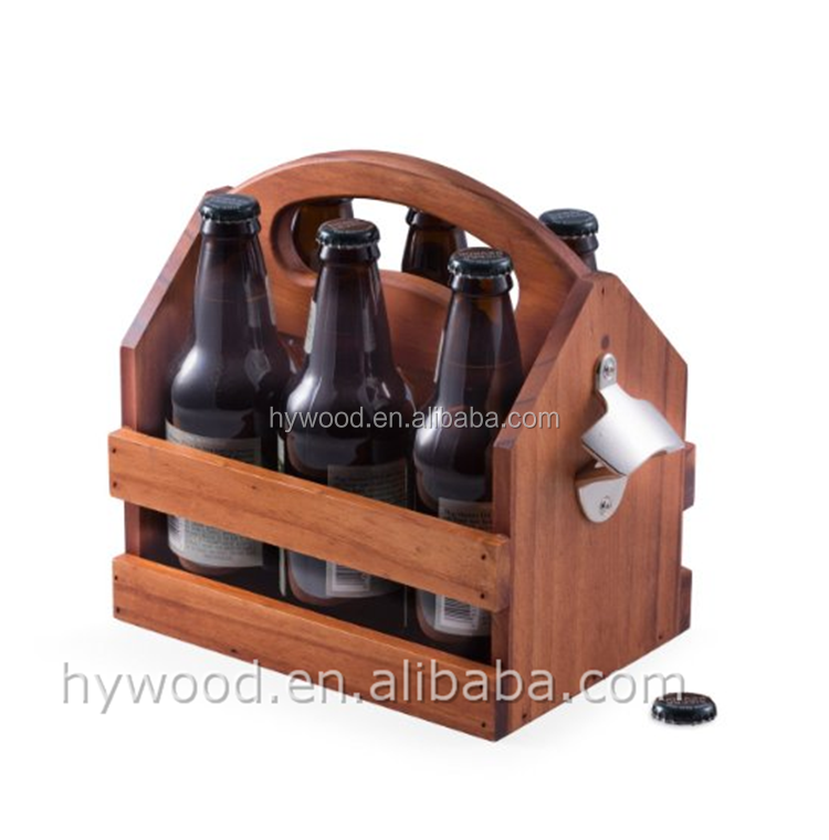 light brown color wooden 6 pack carrier beer caddy carrier